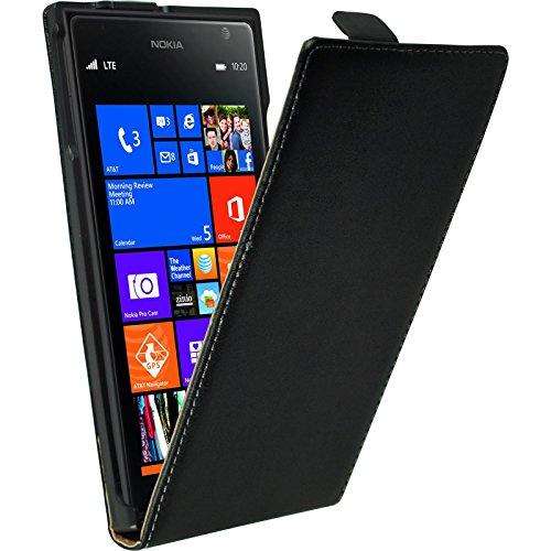 PhoneNatic Kunst-Lederhülle kompatibel mit Nokia Lumia 1520 - Flip-Hülle schwarz + 2 Schutzfolien