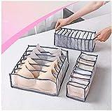 Set di 3 pezzi di biancheria intima, pieghevole, cassetto con divisori, organizer per calze, reggiseni, mutande, cravatte, sciarpe (grigio)