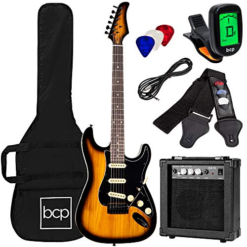 Best Choice Products 39in Full Size Beginner Electric Guitar Starter Kit w/Case, Strap, 10W Amp, Strings, Pick, Tremolo Bar - Green
