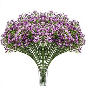 Silk Flower Arrangements Momkids 12 Pcs Baby Breath Flowers Artificial faux Gypsophila Bouquet Fake Real Touch Plastic Flowers for Home Garden Wedding Party DIY Decor(Purple,21.5 inch)