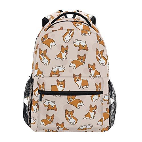 Cute Little Corgi Dogs Backpacks Travel Laptop Daypack School Bags for Teens Men Women