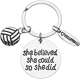Volleyball She Believed She Could So She Did Keychain, Girls Volleyball Jewelry, Perfect Volleyball Gifts for Volleyball Players