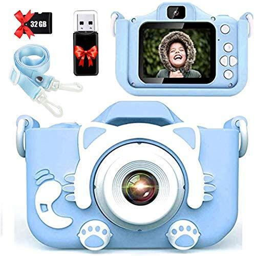 【2021新しい】子供用 カメラ Donop 人気 子ども用 デジタルカメラ トイ 防水 女の子 男の子 誕生日プレゼント 知育 教育 2000万画素 1080P 自撮可能 32GBSDカードと日本語取扱説明書が付属 (キャットブルー)