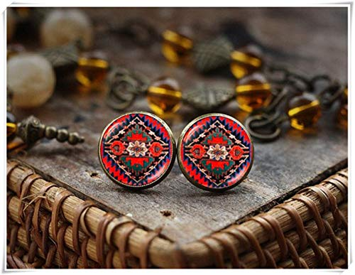 Pendientes de botón de arte étnico, arte nativo americano, aretes de arte folk, estilo bohemio, pendientes de botón rojos gitanos, un hermoso regalo