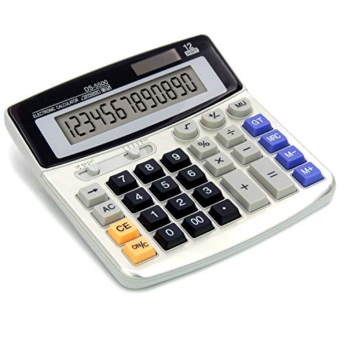 OFFIDIX Office Calculators Desktop Calculator,Basic Calculators, Solar Battery Dual Power Electronic Calculator Portable 12 Digit Large LCD Display Calculator Large Calculator