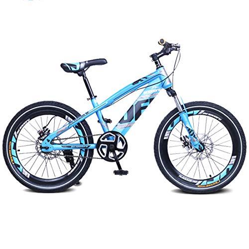 MXSXN Bike Boys BMX Regali per Biciclette Mountain Bike per Bambini 16'18 Pollici, Freno A Disco A velocità Singola Bicicletta, Forcella Ammortizzata Anteriore per Ragazzi di 5-14 Anni, Blu,18'