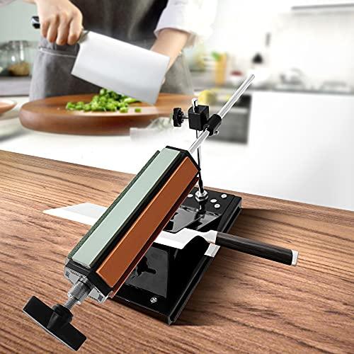 Adoture Afilador de cuchillos de ángulo fijo con base magnética, afilador de cuchillos profesional multifunción de 360 ° con 6 piedras de afilar amoladora de rollo afilador de cuchillos para cocina