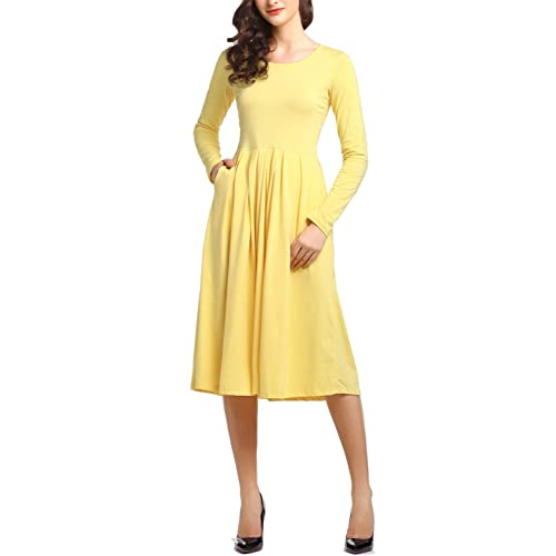 154933544bec Beluring Womens Midi Dress with Sleeves Pleated Cotton Pockets Dresses