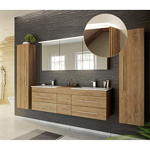 Lomadox Badmöbel Komplett Set, Eiche hell, 153cm Waschtischunterschrank, Doppel-Waschtisch, LED-Spiegelschrank, 2 Hochschränke