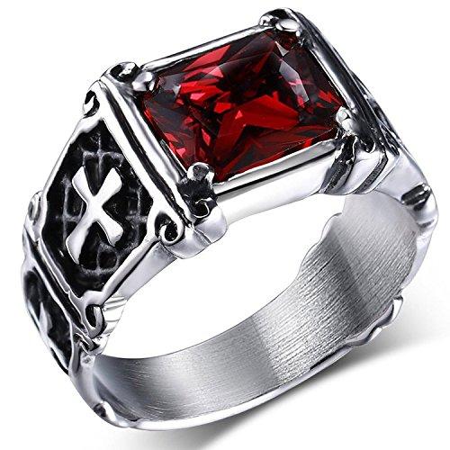 MENDINO - Anello in acciaio inossidabile con zircone di cristallo rosso rubino, intarsio vintage con croce celtica, per uomo o donna, con sacchetto di