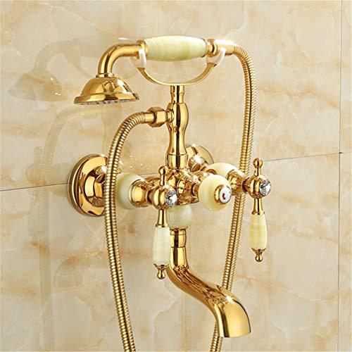 UZSYLE Gold Badewanne Armatur Warme Und Kalte Wasser-Mischer-Hahn-Antike-Badezimmer Einfach Triple-Duscharmatur All Kupfer-Retro Art, I