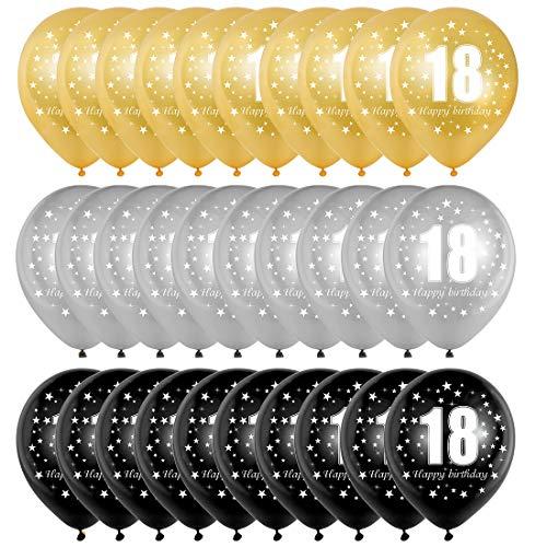 Bluelves Luftballoon 18 Geburtstag, 18 Geburtstag Deko Mann Frau, Zahlenballon 18, Gold Schwarz Silber Ballon 18, 30 Stück