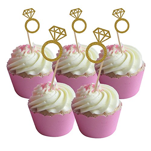 HOKPA Glitter Diamond Ring Cupcake Toppers, Cakes Toppers Fruit Dessert Picks for Bridal Wedding Engagement Anniversary Birthday Valentines Birthday Party Supplies (50PCS Gold)