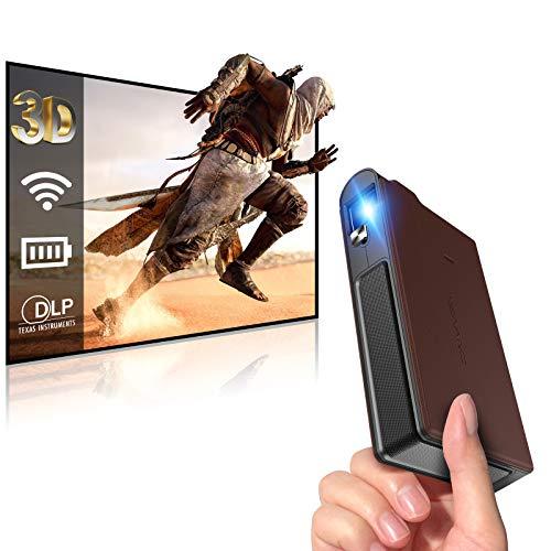 Mini DLP Projector Wifi, 3600 Lumen Wireless Portable projector battery...