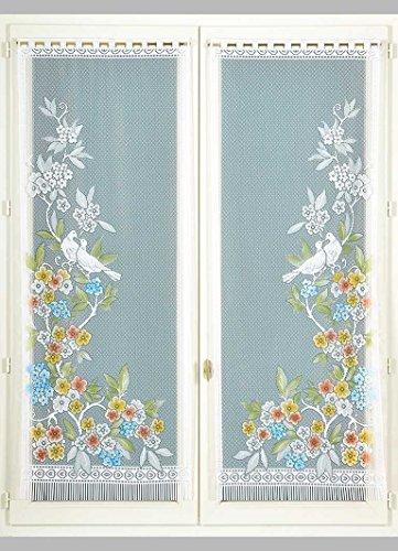 HomeMaison Paire de Vitrages Frangés Esprit Exotique, Polyester, Peint, 160x60 cm
