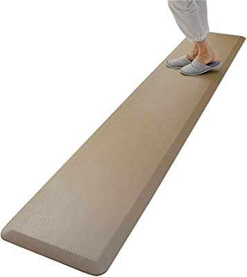 高反発 キッチンマット 疲労軽減マット 足に優しい 衝撃吸収 横幅240cm×奥行45cm×厚み2cm (ベージュ)