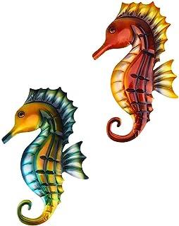 Generic 2pcs Metal Seahorse Wall Decoration Hippocampus Nautical Garden Outdoor Art Wall Sculpture Haning Decoration for H...