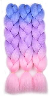 Ombre Braiding Hair Kanekalon Braiding Hair Extensions 3Pcs Jumbo Braiding Hair for Box Braids 24inch Blue/Purple/Pink
