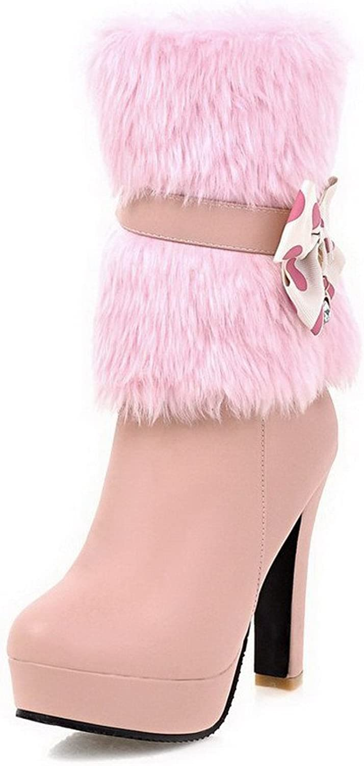 WeenFashion Women's Round Closed Toe Low-top High-Heels Solid PU Boots with Charms