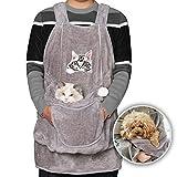 MOLLXZ 猫用エプロン 犬 キャリーバッグ 抱っこ紐 猫 ペット 抱っこ用エプロン 寝袋 カンガルー いつも一緒ポケット 飛び出し防止 ペットスリング ペット用品 (ダークグレー2)