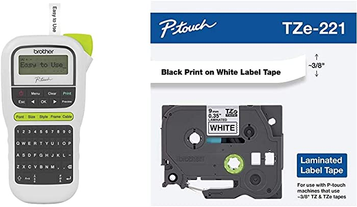 Brother P-Touch, PTH110, Easy Portable Label Maker, Lightweight, QWERTY Keyboard, White & Genuine P-Touch TZE-221 Tape, 3/8