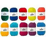 Korbond Pack multicolor de 10 ovillos de 100 g de lana acrílica DK, ligera, hipoalergénica y duradera, 27 colores para elegir, 1000 g y 2900 m en total