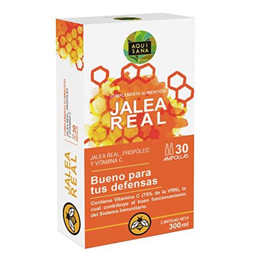 Aquisana- jalea real con propóleo | própolis y vitamina C | mayor energía y vitalidad | aumenta tus defensas | aroma limón |30 ampollas