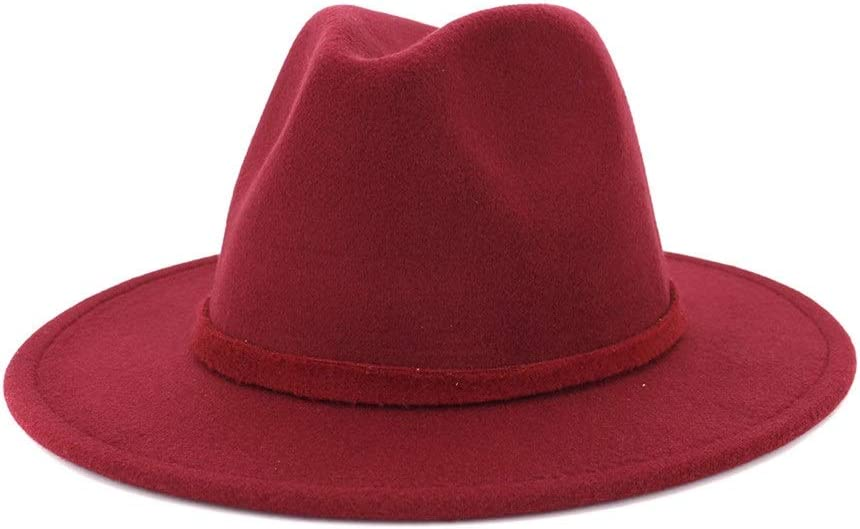no-branded Wide-Brimmed Cotton Jazz Fedora Hat Fedora Hat Men Women are Limited to Autumn Winter Color Retro Style Hat ZRZZUS (Color : Wine red, Size : 56-58cm)