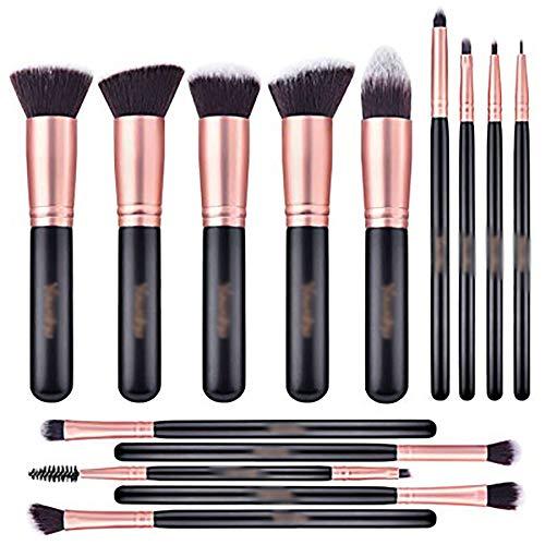 Maquillage Pinceaux, Outils De Beauté Brosse Brosse De Maquillage Blush De Pinceau Fond De Teint De Pinceaux De Maquillage Professionnel 14Pcs,Noir
