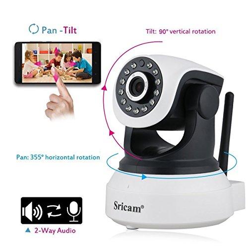 MARVTEK Sricam SP017 IP WiFi P2P Cámara de Video Vigilancia HD 720P con IR-LED Visión Nocturna con Detección de movimientos. Camara Vigila Bebe. Resolución HD 1280 x 720p 1.0Mp.