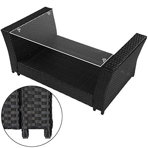 Montafox 12-teilige Polyrattan Sitzgruppe 4 Personen 5 cm Sitzpolster Tisch Balkonmöbel Set Sitzgarnitur Schwarz, Farbe:Titan-Schwarz/Nachtschwärmergrau - 4