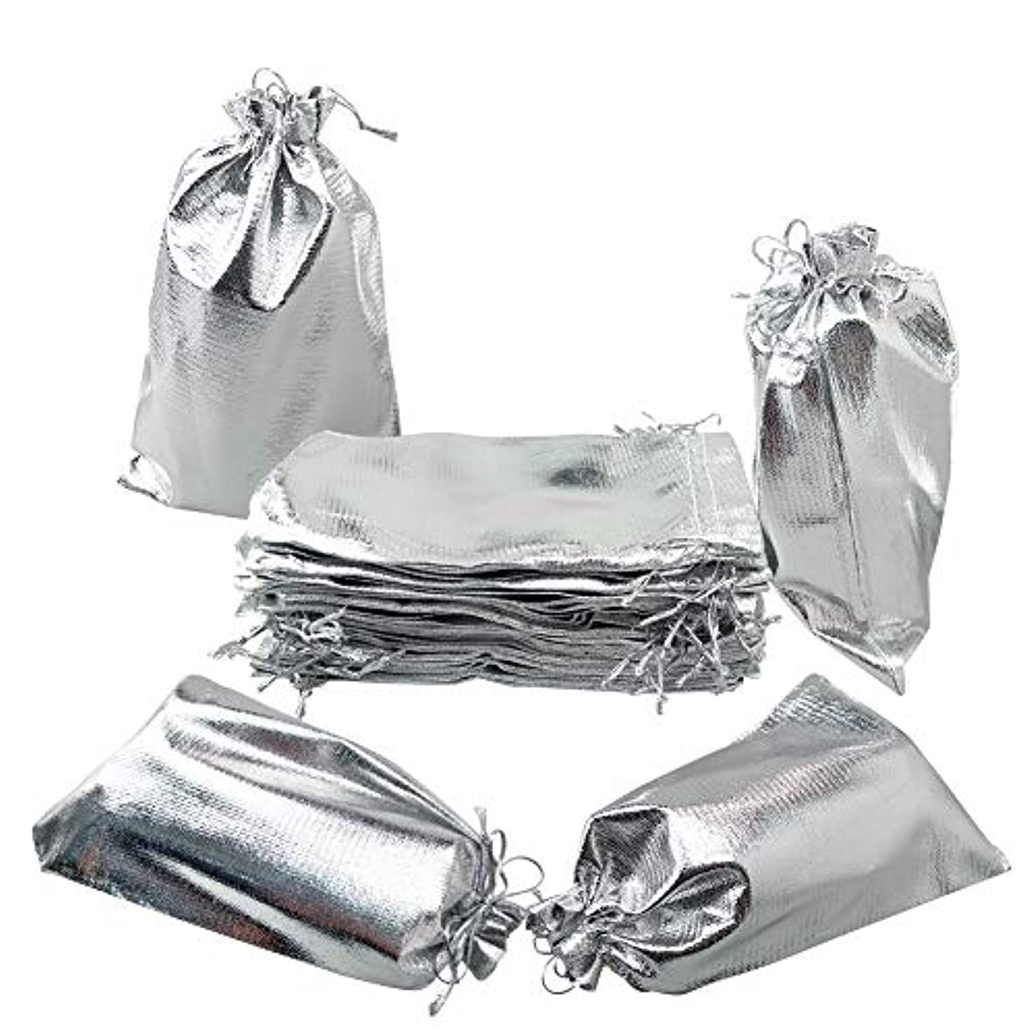 Hangnuo 50 PCS 5x7 Inch Silver Organza Bags with Drawstring, Party Wedding Favor Gift Bags Candy Earrings Jewelry Bags