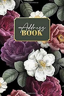 Address Book: Cute Black Floral Cover Address Book / Organizer / Journal With Alphabetical Tabs / Index, For Names, Phone ...