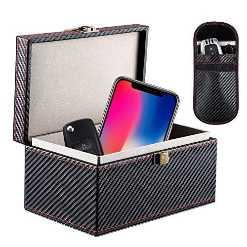Homealexa Faraday Caja para Coche Llaves, Cuero Señal Bloqueador Caja para Coche Llaves Engañar Teléfonos Tarjetas Sin Claves Entrada RFID Señal Bloqueador Y Anti-Robo Faraday Caja Jaula