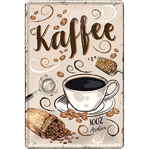 """schilderkreis24 – Blechschild Kaffee Spruch """"Kaffee"""" Deko Schild Metallschild Espresso Cafe Restaurant Bar Cafeteria Bistro Geschenkidee Retro Küche Geschenk Geburtstag Weihnachten 20x30 cm"""