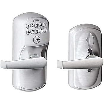 Schlage, Brushed Chrome FE595CS V PLY 626 ELA Plymouth Light Commercial Electronic Keypad Lock with Elan Lever
