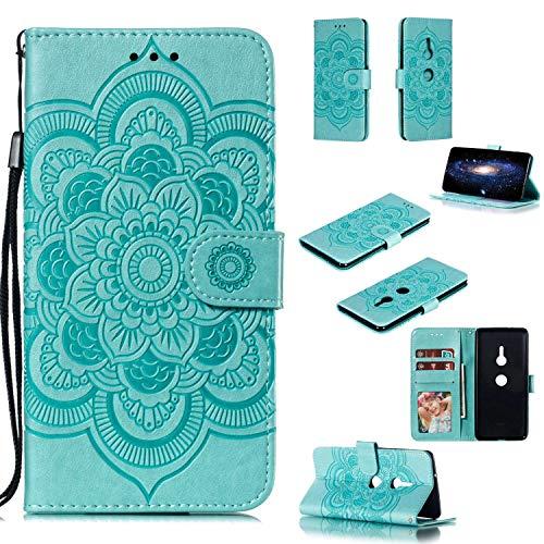 Capa para Xperia XZ3, YINCANG com estampa de flor de sol em relevo couro PU macio TPU silicone interno compartimentos para cartão magnético Flip Case para Sony Xperia XZ3 6 polegadas - Verde