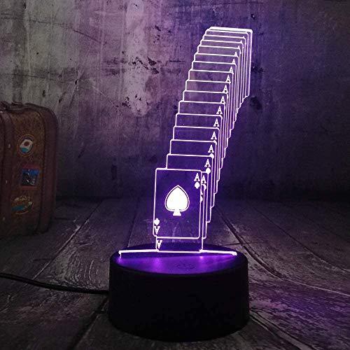 Plezier kubus poker speelkaarten spel party 3D nachtlampje LED tafel bureau slaaplamp woonkamer decoratie speelgoed kerst verjaardagscadeau