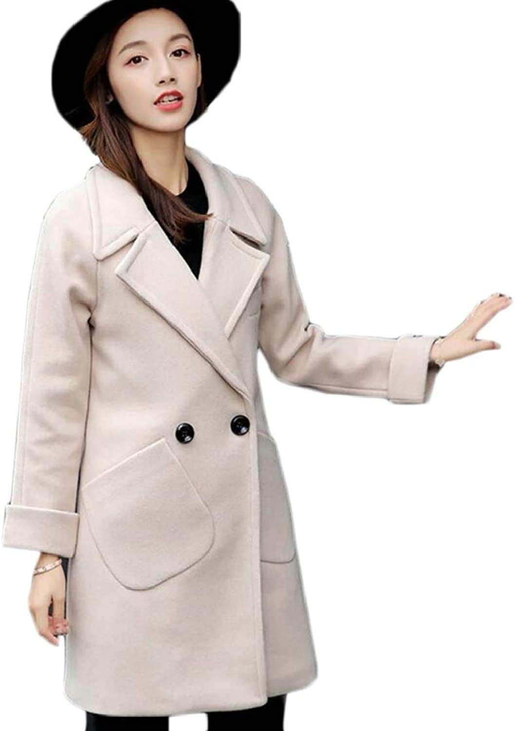 LEISHOP Women's Long Winter Lapel Trench Coats Double Breasted Wool Peacoat