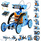 Sillbird STEM 12 in 1 Solar Robot Toys for Kids, 190 Pieces Solar and Cell Powered Dual Drive Motor DIY Building Science Learning Educational Experiment Kit, Gift for Boys Girls Aged 8-12 and Older…