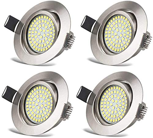 HYDONG Luces de techo LED empotradas [6000K] downlight integrado, focos ultradelgados [400LM] IP20 con protección de níquel redondo para sala de estar, dormitorio y cocina [blanco, paquete de 4, 3.5W]