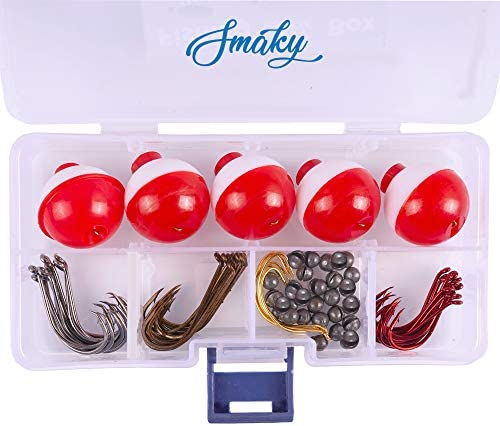 Smaky Fishing Tackle Kit Beginners Equipment 80 Pcs Includes Fishing Hooks Bobbers Circle Octopus product image