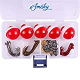 Smaky Fishing Tackle Kit Beginners Equipment 80 Pcs-Includes Fishing Hooks Bobbers Circle Octopus Hooks Sinkers| Starter Kit for Artificial and Live Baits (80-Pcs)