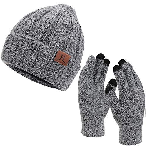 Womens Winter Warm Knit Beanie Hat Touchscreen Gloves Long Scarf Set with Fleece Lined Skull Cap Gloves Neck Warmer for Women