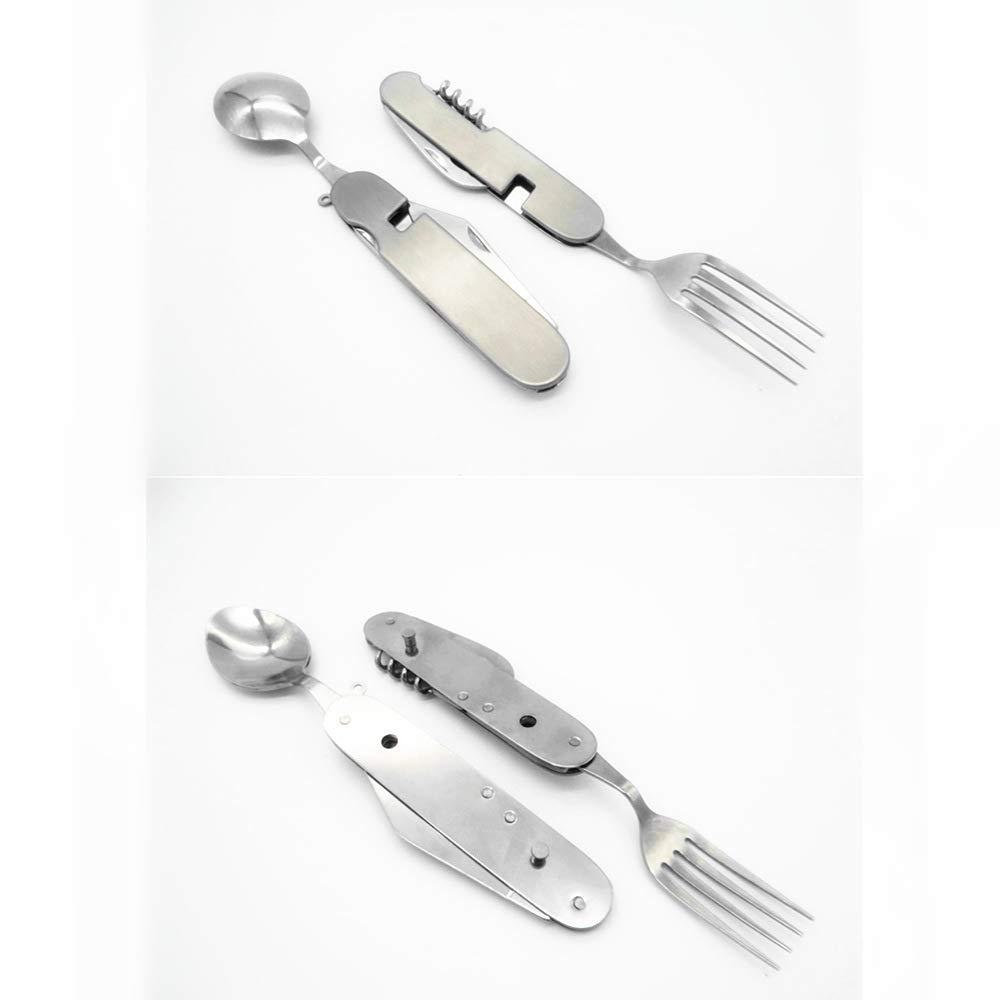 Camping Utensil Fork Knife Spoon Bottle Opener Set Stainless Steel Spork Gear Foldable Silverware Travel Hiking Survival