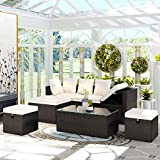 MAFOROB Outdoor Patio Furniture Set Rattan Sectional Sofa Couch PE Wicker Adjustable Chaise Lounge with Tempered Glass Tea Table and Removable Cushions, Beige