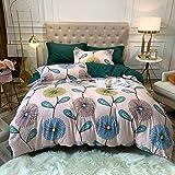 -Temporada de primavera y verano Norte de Europa Peinado Seda Seda de cuatro piezas Sentido fresco de sábanas de seda Ropa de cama en la ropa de cama Día de la madre Regalo-Di_Cama de 2.0m (4 piezas)