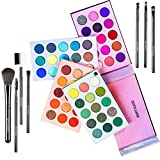 Beauty Glazed Eyeshadow Palette Color Board Eye Makeup Palette With Brushes Set Palettes Mattes and Shimmers Makeup Pallet Long Lasting Easy Blending Eye Shadow Pallet High Pigmented 60 Color