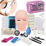 17 Piezas Kit Extensiones de Pestañas, TopDirect kit Extension de Pestañas Postizas Extensión Entrenamiento Herramienta de Maquillaje, Kit de Práctica con una Bolsa de Maquillaje (sin pegamento)