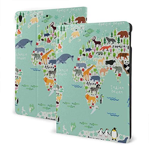 Butterfly Insect Art Case for Ipad Air 3rd Gen 10.5' 2019 / Ipad Pro 10.5' 2017 Multi-Angle Folio Stand Auto Sleep/Wake for Ipad 10.5 Inch Tablet-Cartoon Animals World Map-One Size